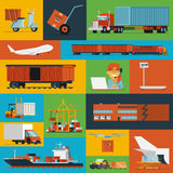 Logistisk symbolsuppsättninglägenhet Fotografering för Bildbyråer