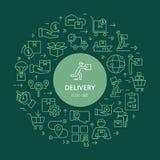 Logistisk uppsättning för rund mallleverans i plan stil Vektorsymboler för rengöringsduk, infographic eller tryck stock illustrationer