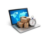 Logistiska kartongpackejordlotter och bärbar dator -, last, de Arkivfoton