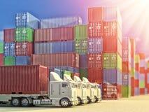 Logistiskt begrepp för import, för export och för affär royaltyfri bild