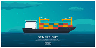 Logistiskt havstrans. Havsfrakter Maritim sändnings Köpman Marine ship för aktivitetslasthamburg port Plan illustration för vekto vektor illustrationer