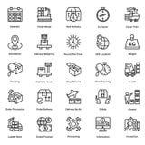 Logistycznie Doręczeniowej linii Wektorowe ikony Ustawiają 6 ilustracji
