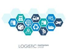 LOGISTYCZNIE mechanizmu pojęcie dystrybucja, dostawa, usługa, wysyłka, logistycznie, transport, targowi pojęcia Abstrakt Zdjęcie Royalty Free
