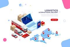 Logistycznie Międzynarodowa Doręczeniowa dystrybuci fabryka Infographic Obrazy Royalty Free