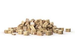 Logistycznie pojęcie duży pudełek kartonu stos royalty ilustracja