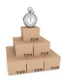 Logistycznie pojęcie. Stopwatch i pudełka Obrazy Stock