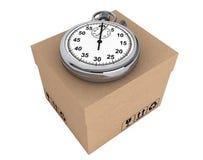 Logistycznie pojęcie. Stopwatch i pudełko Obraz Stock