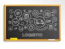 Logistycznie ręka remis integrował ikony ustawiać na szkolnym blackboard royalty ilustracja