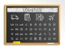 Logistycznie ręka rysunku linii ikony kredowa nakreślenie znaka ilustracja na blackboard Fotografia Royalty Free