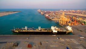 Logistycznie zbiornika statek przy wysyłać jarda Zdjęcie Stock