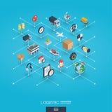Logistycznie zintegrowane 3d sieci ikony Cyfrowej sieci isometric pojęcie Zdjęcie Royalty Free