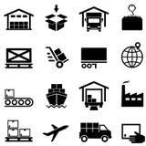 Logistyki, łańcuch dostaw, dystrybucja składuje i wysyła, ilustracja wektor