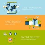 Logistyki doręczeniowego pojęcia sieci sztandarów szablonu płaski set ilustracja wektor