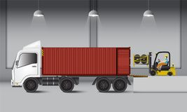 Logistyki magazynowe i ładowniczy dok, guma toczą transportati ilustracja wektor