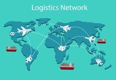 Logistyki sieci mieszkania 3d isometric wektorowy ilustracyjny Ustawiający lotniczy ładunek przewozi samochodem sztachetowego tra Obraz Stock