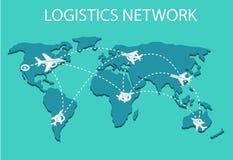 Logistyki sieci mieszkania 3d isometric wektorowy ilustracyjny Ustawiający lotniczy ładunek przewozi samochodem sztachetowego tra Zdjęcia Stock