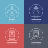 Logistyki wykładają ikony Airmail ładunku transport ilustracji