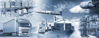 Logistyki z transportem i magazynem towary zdjęcia royalty free