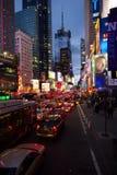 Logjam of traffic going down 7th Avenue towards Times Square, Manhattan stock photos