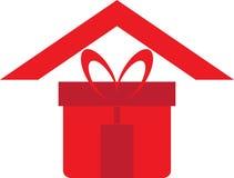 Logo à la maison de cadeau Photos stock