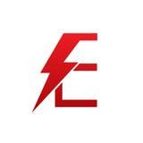 Logo électrique de la lettre E de boulon rouge de vecteur Photos stock