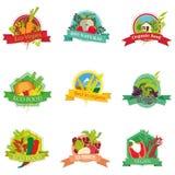 Logo żywności organicznej ustaleni warzywa Zdjęcia Royalty Free