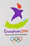Logo 2010 de Jeux Olympiques de la jeunesse de Singapour Photographie stock