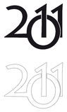 Logo 2011. The year 2011 logo, colorless stock illustration