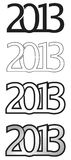 Logo 2013. The year 2013 logo, colorless, black and white royalty free illustration