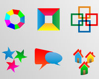 Logo 28.01.13. Six images of colorful abstract logos for designers for different needs Stock Illustration