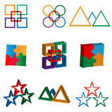 Logo 29.01.13. Nine images of colorful abstract logos for designers for different needs Royalty Free Illustration