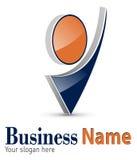 Logo 3D. Abstract dynamic shape,  black and orange Stock Photo