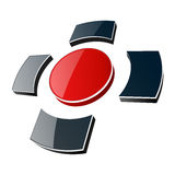 Logo, 3d glossy cross. Royalty Free Stock Photo