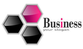 Logo 3D hexagons. Logo three hexagons, pink and black Stock Images