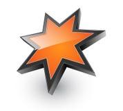 Logo 3D orange star. Logo 3D glossy orange star, vector Royalty Free Stock Images