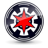 Logo 3D star. Logo 3d red star in circle,  black and red Royalty Free Stock Image