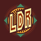 The logo is the abbreviation of `LDR` long distance relationship. The image with the color text on a red. Royalty Free Stock Images