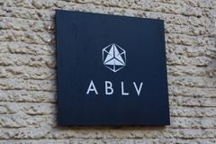 Logo of ABLV bank on building facade. 22.02.2018. RIGA, LATVIA. Press conference at ABLV bank - Chairman of the Board, Chief Executive Officer CEO and Vadims Royalty Free Stock Photo