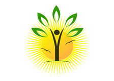 Logo. The abstract person in the form of a tree with leaves and the sun Stock Photos