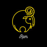 Logo of abstract yellow line Ram icon on black background Royalty Free Stock Photos