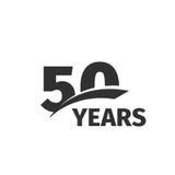 logo abstrait d'anniversaire de noir cinquantième sur le fond blanc logotype de 50 nombres Cinquante ans de célébration de jubilé Photos stock