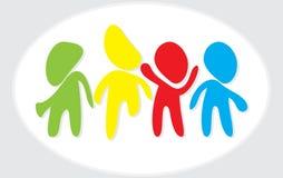 Logo abstrait d'humain de danse Logo social de personnes de media de réseau Logo créatif de travail d'équipe Élément lumineux de  Photographie stock