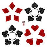 Logo abstrait d'illustration de vecteur pour l'ensemble jouant des cartes dans le tisonnier de jeu Photos stock