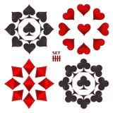 Logo abstrait d'illustration de vecteur pour l'ensemble jouant des cartes dans le tisonnier de jeu Photographie stock libre de droits