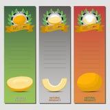 Logo abstrait d'illustration de vecteur pour le melon mûr entier de jaune de fruit Images libres de droits