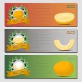 Logo abstrait d'illustration de vecteur pour le melon mûr entier de jaune de fruit Photographie stock