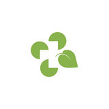 Logo abstrait d'isolement de feuille de couleur verte Logotype croisé médical Icône de produits naturels d'herbes curatives Hôpit illustration stock