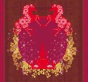 Logo abstrait de chevaux et de château de vintage Image libre de droits