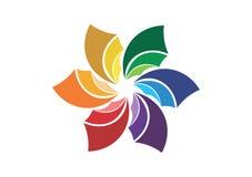 Logo abstrait de fleur, symbole de société, icône sociale d'entreprise de media Image libre de droits