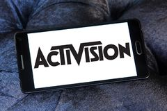 Activision company logo. Logo of Activision company on samsung mobile. Activision Publishing, Inc. is an American video game publisher Stock Photos